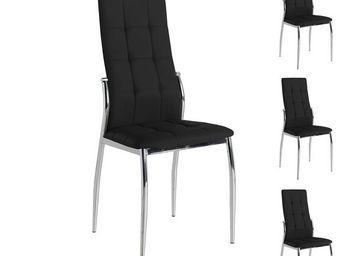 WHITE LABEL - quatuor de chaises eco-cuir noir - calas - l 42 x  - Chaise