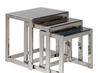 TOUSMESMEUBLES - tables gigognes en verre noir - karel - l 50 x l 4 - Tables Gigognes