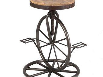 WHITE LABEL - tabouret à pédales bois et acier - cyclo n°2 - l 4 - Tabouret De Bar