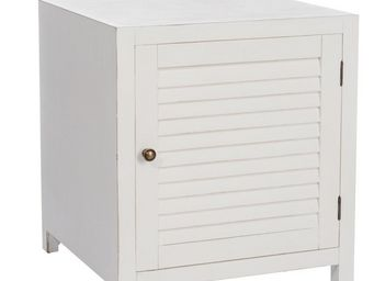 TOUSMESMEUBLES - table de chevet 1 porte blanc - boudebois - l 50 x - Table De Chevet