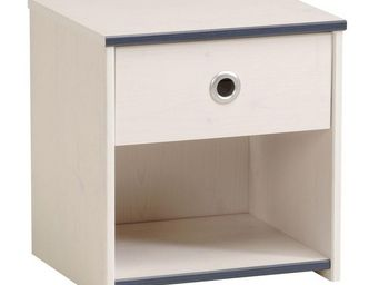WHITE LABEL - table de chevet 1 tiroir pin blanc - oggy - l 40 x - Table De Chevet
