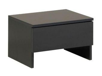 WHITE LABEL - table de chevet 1 tiroir noir - carlack - l 44 x l - Table De Chevet