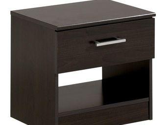 WHITE LABEL - table de chevet 1 tiroir wengé - nity - l 44 x l 3 - Table De Chevet