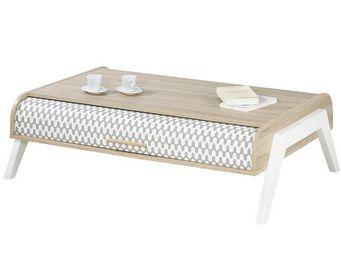 WHITE LABEL - table basse à rideau - arkos n°1 - l 119 x l 80 x  - Table Basse Rectangulaire