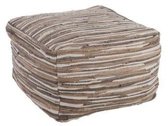WHITE LABEL - pouf brun - sacco - l 60 x l 60 x h 40 - coton - Pouf