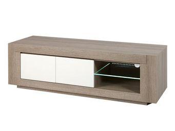 WHITE LABEL - meuble tv 2 portes - swim - l 130 x l 48 x h 48 -  - Meuble Tv Hi Fi