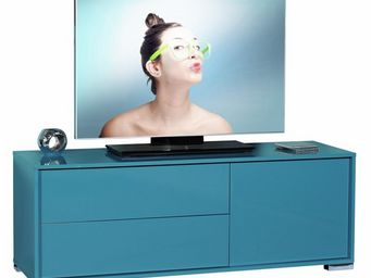 WHITE LABEL - meuble tv turquoise 1 porte 2 tiroirs - navo - l 1 - Meuble Tv Hi Fi