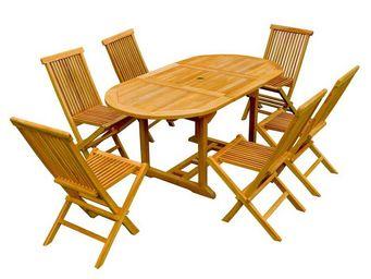 WHITE LABEL - ensemble table et chaises de jardin - juillet - l  - Salle À Manger De Jardin