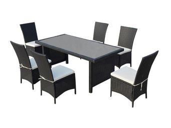 WHITE LABEL - ensemble table et chaises de jardin - manuhangi -  - Salle À Manger De Jardin