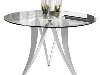 WHITE LABEL - table de repas ronde verre - akno - l 120 x l 120  - Table De Repas Ronde