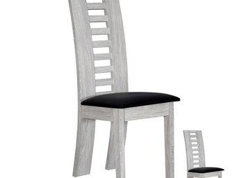 WHITE LABEL - duo de chaises gris clair - tahiti - l 41 x l 52 x - Chaise