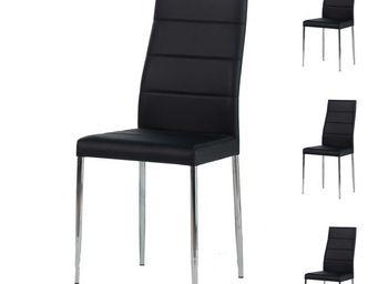 WHITE LABEL - quatuor de chaises noires - alta - l 42 x l 55 x h - Chaise