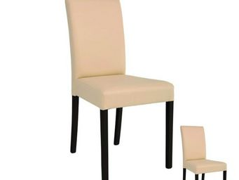 WHITE LABEL - duo de chaises simili cuir beige - sonia - l 49 x  - Chaise