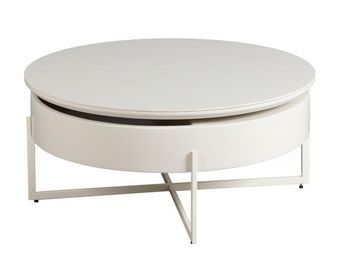WHITE LABEL - table basse acier/bois/céramique - ronda - l 85 x  - Table Basse Ronde