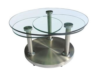 WHITE LABEL - table basse articulée verre et métal - trygo - l 8 - Table Basse Forme Originale