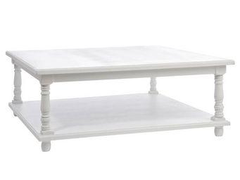 WHITE LABEL - table basse bois laqué blanc - eva - l 80 x l 80 x - Table Basse Carrée