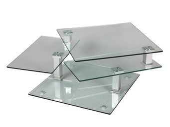 WHITE LABEL - table basse en verre carrée - quadra - l 80 x l 80 - Table Basse Rectangulaire