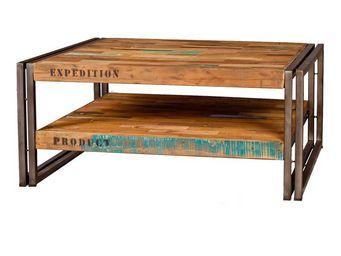WHITE LABEL - table basse en bois carrée 80 cm - industry - l 80 - Table Basse Rectangulaire