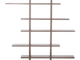 WHITE LABEL - bibliothèque bois naturel - zigzag - l 115 x l 14  - Etagère