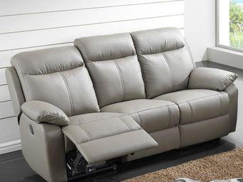 WHITE LABEL - canapé relax électrique 3 places cuir - vyctoire - - Canapé 3 Places