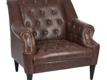 WHITE LABEL - fauteuil chesterfield simili cuir - boston - l 80  - Fauteuil
