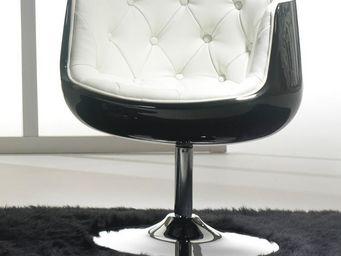 WHITE LABEL - fauteuil simili cuir blanc - zola - l x 66 x l 65  - Fauteuil Rotatif