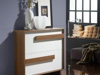 WHITE LABEL - meuble à chaussures blanc/noyer - storia n°1 - l 9 - Meuble À Chaussures