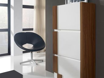 WHITE LABEL - meuble à chaussures blanc/noyer - louba - l 60 x l - Meuble À Chaussures