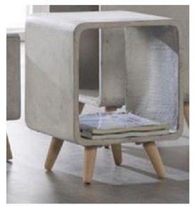 WHITE LABEL - table d'appoint cuby design carré en beton ( gran - Bout De Canapé