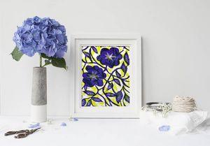 la Magie dans l'Image - print art fleurs bleues - Estampe