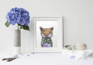 la Magie dans l'Image - print art mon petit renard vert - Poster