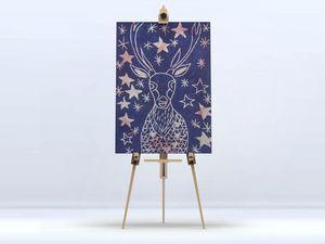 la Magie dans l'Image - toile cerf etoilé bleu - Impression Numérique Sur Toile