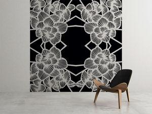 la Magie dans l'Image - grande fresque murale graphic flowers black - Papier Peint Panoramique