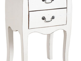 Aubry-Gaspard - table de nuit 2 tiroirs en bois blanc - Table De Chevet