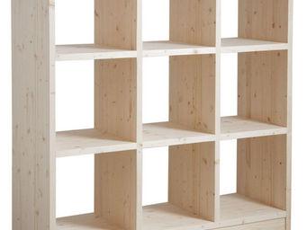 Aubry-Gaspard - bibliothèque 9 cases en épicéa brut - Bibliothèque Ouverte