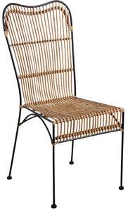 Aubry-Gaspard - chaise en rotin naturel et métal noir - Chaise