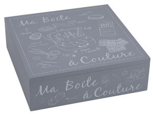 Aubry-Gaspard - boite à couture en bois laqué gris - Boite À Couture