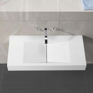 Rue du Bain - lavabo suspendu rectangulaire blanc mat, 100x48 cm - Lavabo Suspendu