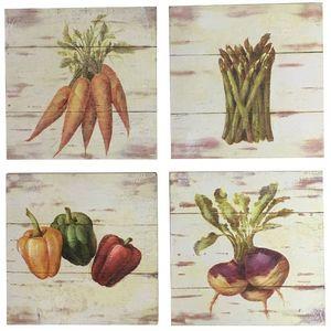 CHEMIN DE CAMPAGNE - 4 tableaux cadres en bois peint légumes de cuisine - Tableau Décoratif
