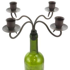 CHEMIN DE CAMPAGNE - bougeoir chandelier à bouteilles 4 bougies 25x25 c - Chandelier