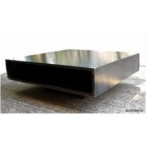 Mathi Design - table basse acier brut metallica - Table Basse Carrée