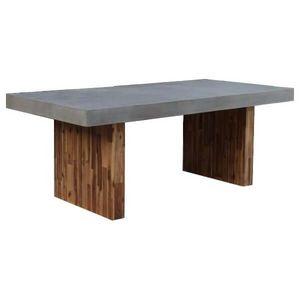 Mathi Design - table de repas beton et bois - Table De Repas Rectangulaire