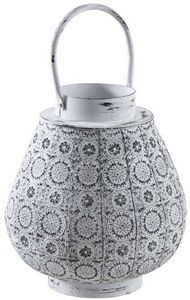 Aubry-Gaspard - lanterne en métal mosaique blanc vieilli - Lanterne D'extérieur