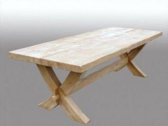 Lawrens - table en chêne pied x - Table De Repas Rectangulaire