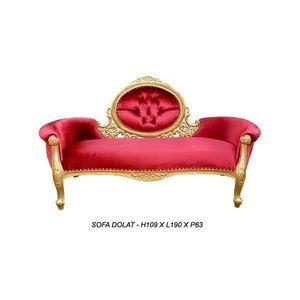 DECO PRIVE - meridienne baroque doree et velours rouge modele d - Canapé 2 Places