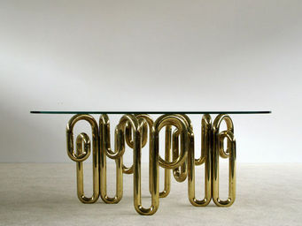 FURNITURE-LOVE.COM - tubular sculptural brass dinning table - Table De Repas Rectangulaire