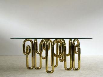 FURNITURE-LOVE.COM - tubular sculptural brass dinning table - Table De Repas Rectangulaire
