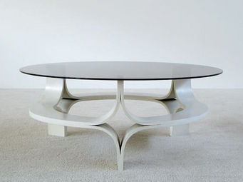 FURNITURE-LOVE.COM - 1967 decorative white plywood coffee table - Table Basse Ronde