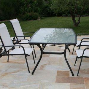 LE R�VE CHEZ VOUS - ensemble salon de jardin table alu noir et 4 faute - Salon De Jardin