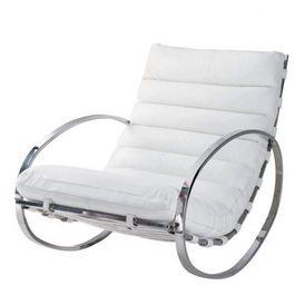 fauteuil bascule cuir blanc freud rocking chair maisons du monde. Black Bedroom Furniture Sets. Home Design Ideas
